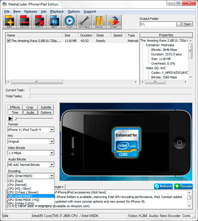 MediaCoder iPhone Edition with Intel MSDK support